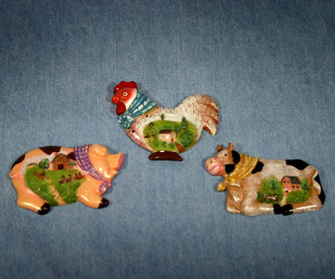 Set of 3 Farm Animal Frig Magnets Cow, Pig, and Chicken