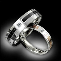 2pcs Simulated Diamond Titanium Steel Couple Ring Promise Wedding Matchi... - $403,03 MXN