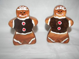 Gingerbread Boy Ceramic Salt & Pepper Shakers NEW - €8,63 EUR