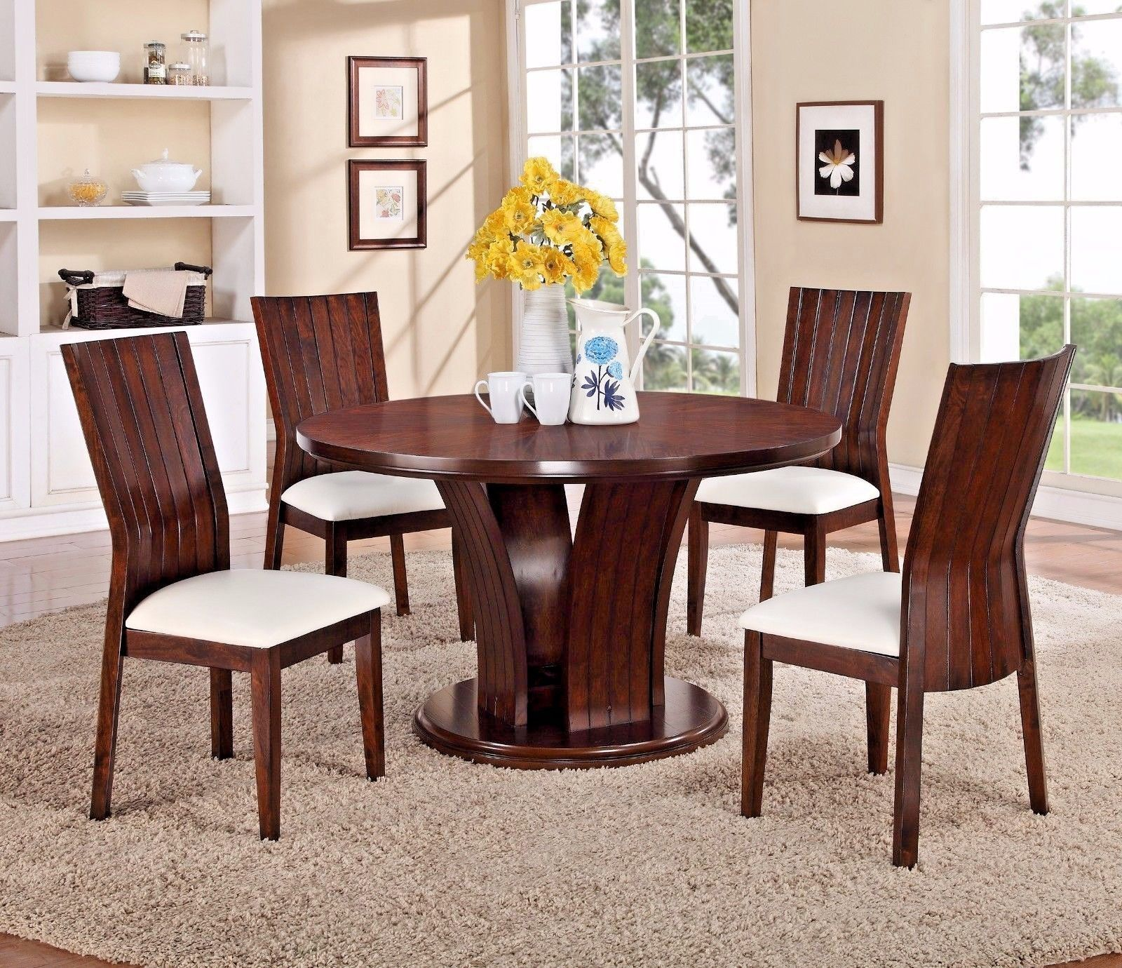 Crown Mark 2234T-54 Dining Room Set 5pc.Daria Round Shape Transitional Style