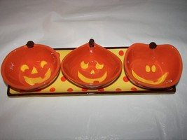 Halloween bowls and tray jack o lantern 4pc ceramic condiment set NIB - £13.25 GBP