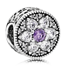 925 Sterling Silver Forget Me Not Flower with Purple CZ Charm Bead QJCB841 - $22.68