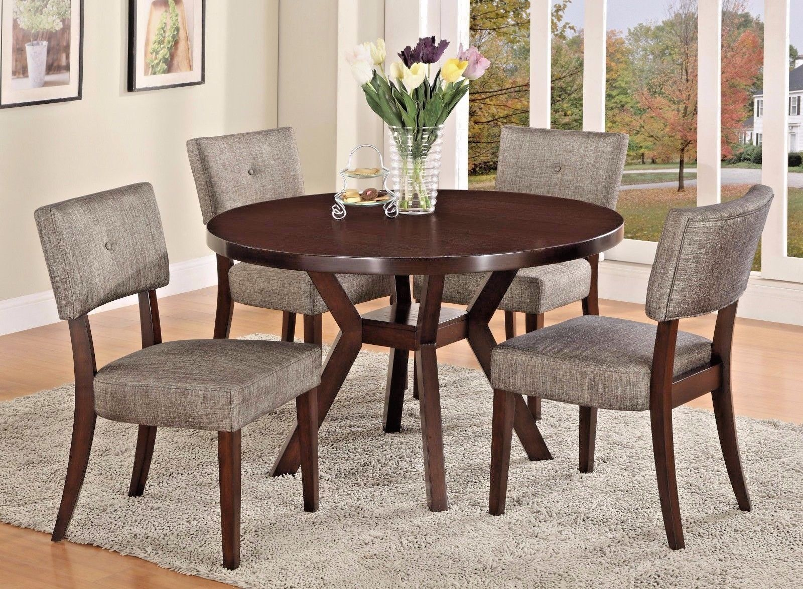 Crown Mark 2610T-48 Kayla Dining Room Set 5pc. Round Shape Casual Style
