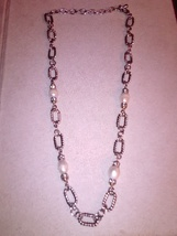 Silvertone Pearl and rhinestone style necklace - $8.50