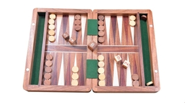 "Backgammon Set in Sheesham and Box wood with Board,Dice & Stones - 7"" BG201 - $60.99"