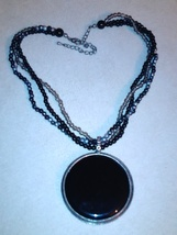 Black beaded Medallion necklace - $6.50