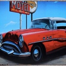Tin  Sign   Retro Vintage Pub Beer Bar Cars
