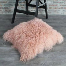 Decorative Pink Tibetan Lamb Fur Cushion Pillow Cover Mongolian Pillowca... - $63.99+