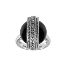 Aura 925 Sterling Silver Marcasite Ring with Black Onyx Gemstone (MR0073... - £34.08 GBP