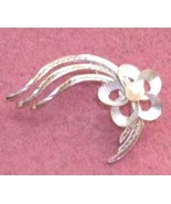 Sterling 925  PIN Shooting Star Flower w pearl - $18.00