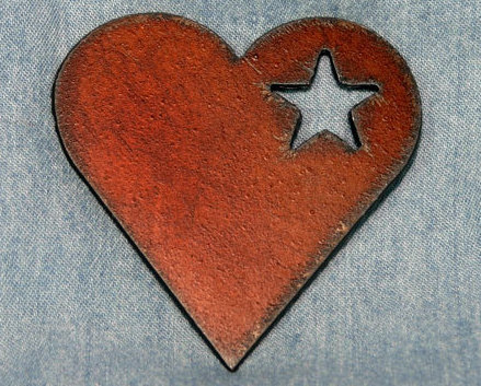 Rustic Metal Country Heart with Star Frig Magnet