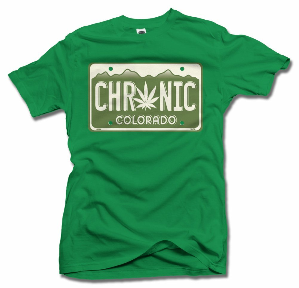 CHRONIC COLORADO LICENSE PLATE 2X Irish Green Men's Tee (6.1oz)