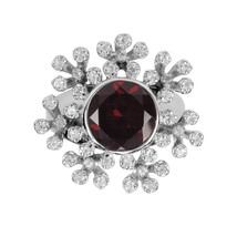 Aura 925 Silver Ring with Garnet and White Topaz Gemstone (SR00043WT-GA) - £78.03 GBP