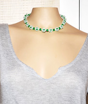Vintage Green Lucite beaded Choker necklace short - $7.91