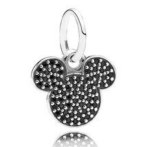 925 Sterling Silver Disney Sparkling Mickey Icon & CZ Pendant Charm Bead QJCB469 - $19.99