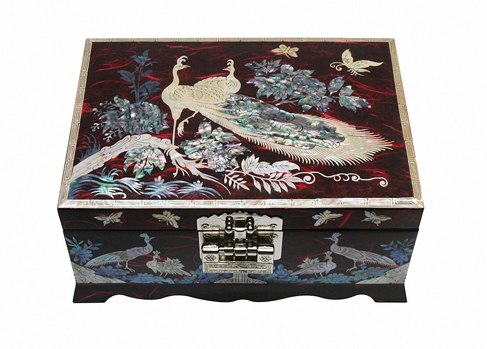 Mother of pearl wood  trinket jewelry box jewel case organizer red color peacock
