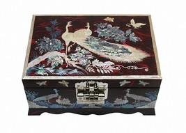 Mother of pearl wood  trinket jewelry box jewel case organizer red color... - €101,02 EUR