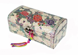 Mother of pearl handmade  trinket jewelry box jewel case organizer peony... - €184,88 EUR