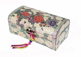 Mother of pearl handmade  trinket jewelry box jewel case organizer peony... - €183,48 EUR