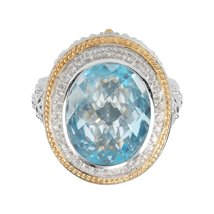 Aura 925 Silver Ring with Top Sky Blue and White Topaz Gemstone (SR00007... - £118.18 GBP