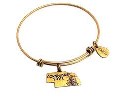 State of Nebraska Charm Bangle Bracelet