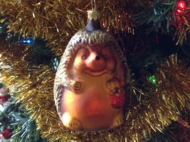 Hedgehog Hand Painted Glass Ornament