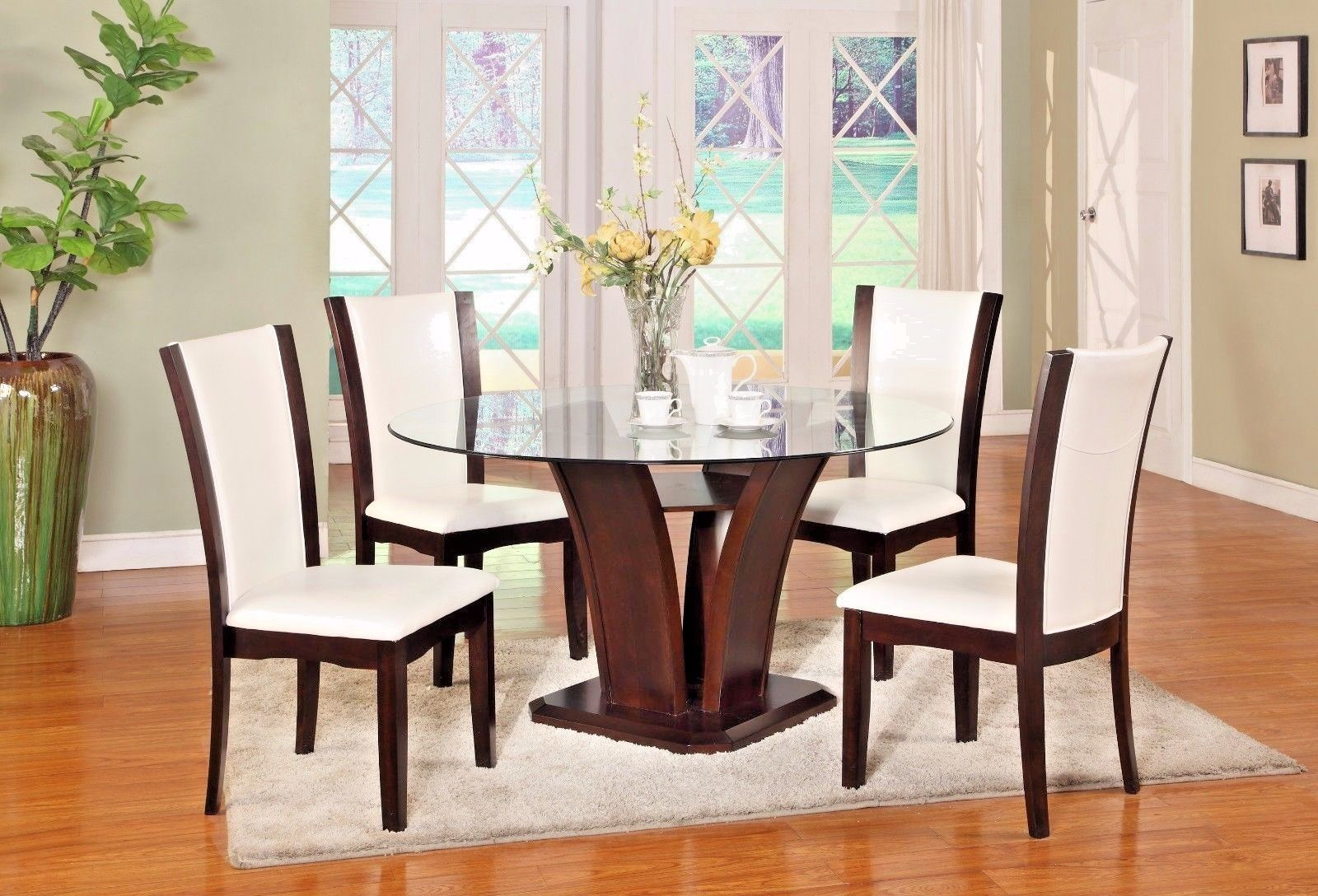 Crown Mark 1210WH-54 Dining Room Set 5pc. White Camelia Round Table Modern Style