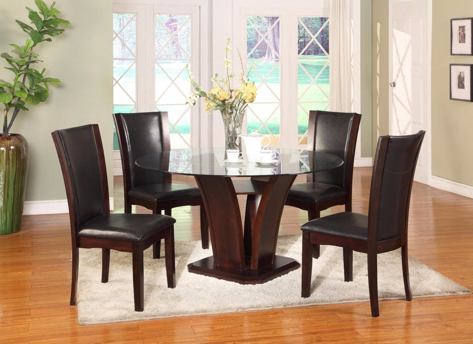 Crown Mark 1210ESP-54 Dining Room Set 5pc. Espresso Camelia Modern Round Table