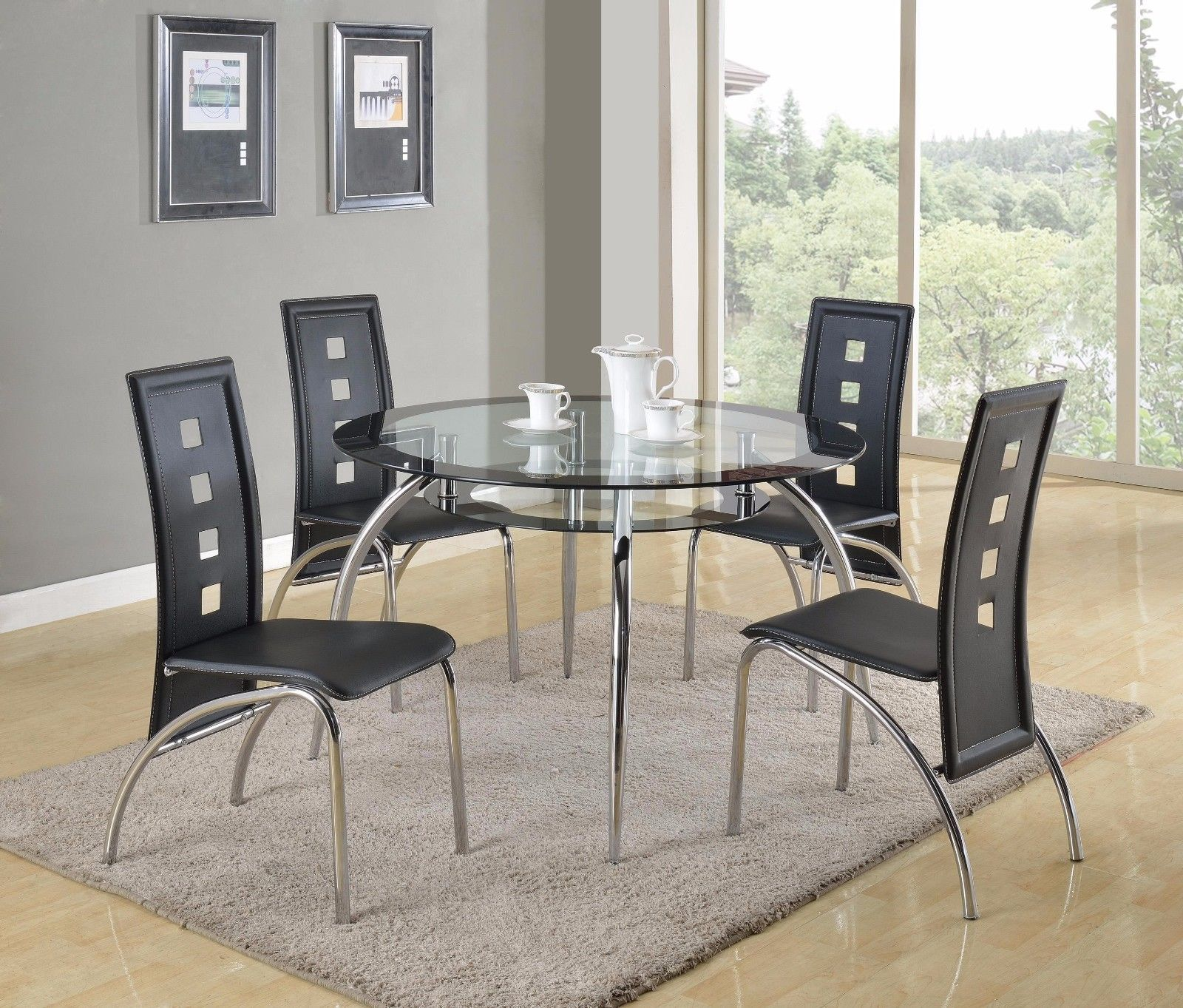 Crown Mark 1270 Dining Room Set 5pc. Mila Round Glass Table Contemporary Style