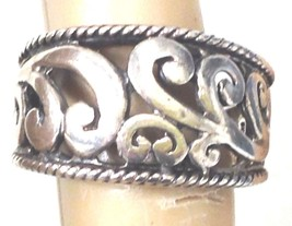 VINTAGE STERLING SILVER OPEN SCROLL WORK RING s... - $34.62