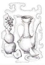 """Akimova: STILL LIFE, ink, black&white, garden, flower, 5""""x7"""" - $7.00"""