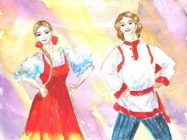 "Akimova: RUSSIAN DANCE, watercolor,ballet, 5""x3.5"" - $4.00"