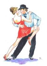 "Akimova: TANGO, watercolor,ballet, 3.5""x5"" - $6.00"