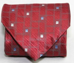 Puritan Maroon Red Gray Metalic Geometric Shapes Mens Silk Neck Tie  STU... - $5.95