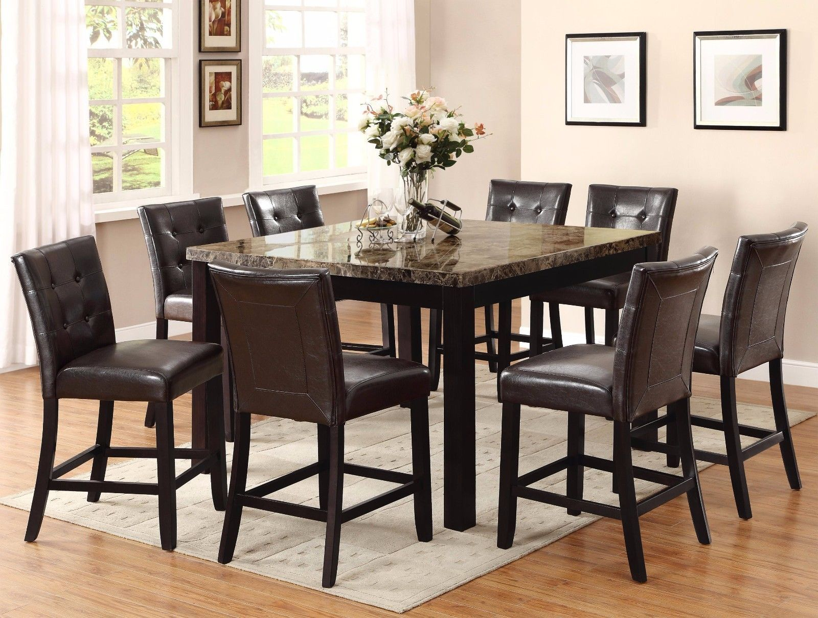 Crown Mark 2767 Dining Room Set 9pc. Bruce Counter Height Contemporary Style