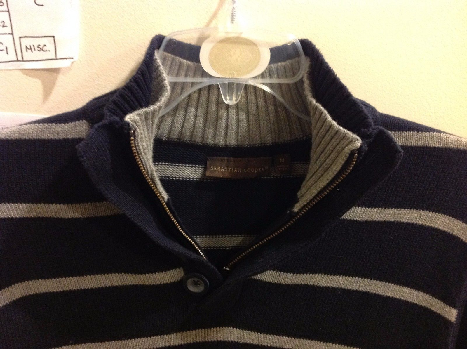 Mens Long Sleeve Navy Blue Sweater w Gray Stripes by Sebastian Cooper Sz M