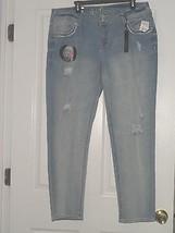 Wallflower Women J EAN S Size 18 Curvy Skinny Stretch Distressed Beaded Nwt - $28.48