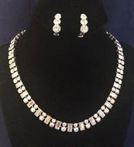 Vintage Napier Stunning Rhinestone Silvertone Runway Necklace Clip Earri... - $33.78