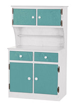 Kitchen Toy Hutch ~ Turquoise & White Amish Handmade Play Pantry Wood Furniture - $386.07