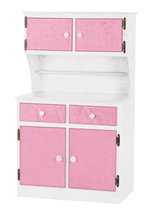 Kitchen Toy Hutch ~ Pink & White Amish Handmade Play Pantry Wood Furniture Usa - $386.07