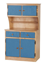 Kitchen Toy Hutch ~ Natural Blue Amish Handmade Play Pantry Wood Furniture Usa - $386.07