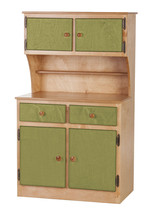 Kitchen Toy Hutch   Natural Green Amish Handmade Play Pantry Wood Furniture Usa - $386.07