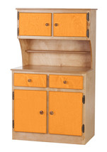 Kitchen Toy Hutch   Natural Orange Amish Handmade Play Pantry Wood Furniture Usa - $386.07