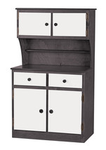 Kitchen Hutch   Black & White Amish Handmade Play Pantry Wood Toy Furniture Usa - $386.07