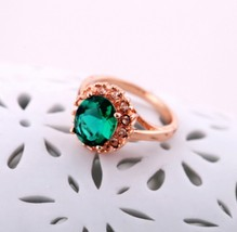 Gorgeous 14K GRP Big Faceted Emerald Cocktail Ring for Women(diameter1.6cm) - $18.99
