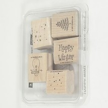 Mounted Wood Rubber Stamps Hallidays Christmas Happy Winter Snowman Set ... - $8.00