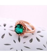 Gorgeous 14K GRP Big Faceted Emerald Cocktail Ring for Women(diameter1.7cm) - $18.99