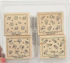Stampin Up! FABULOUS FOUR for Baby Thank you Birthday Ring NEW Stamp Set of 4 - $8.00
