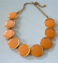 Vintage Orange Lucite Disc Link Panel Collar Choker Necklace Pastel Perl... - $24.74