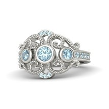 1.17Ct Round Cut Aquamarine Engagement Autumn Palace Ring 14k White Gold Finish - $97.98